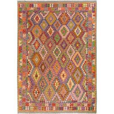 One-of-a-Kind Bakerstown Kilim Hand-Woven Wool Purple/Orange Area Rug