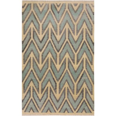 One-of-a-Kind Digregorio Kilim Hand-Woven Wool Blue/Ivory Area Rug