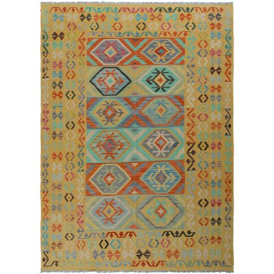 One-of-a-Kind Bakerstown Kilim Hand-Woven Wool Gold/Rust Area Rug