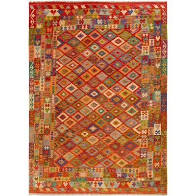 One-of-a-Kind Bakerstown Kilim Hand-Woven Wool Rust/Ivory Area Rug