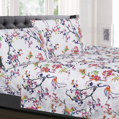 Augustine Floral Microfiber Sheet Set Size: Twin