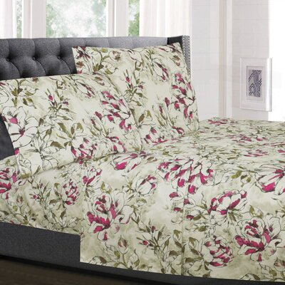 Ahadpour Floral Microfiber Sheet Set Size: King