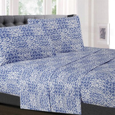 Wedgeport Geometric Microfiber Sheet Set Size: California King