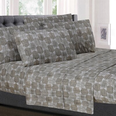 Cypress Geometric Microfiber Sheet Set Size: California King