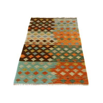 One-of-a-Kind Bakerstown Kilim Hand-Woven Wool Blue/Orange/Brown Area Rug