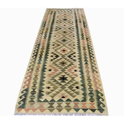 One-of-a-Kind Bakerstown Kilim Hand-Woven Wool Tan/Ivory Area Rug