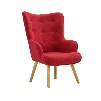 Dovercourt Accent Tufted Armchair Upholstery: Red