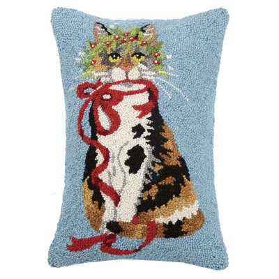 Fetzer Cat Holly Leaf Hook Wool Throw Pillow