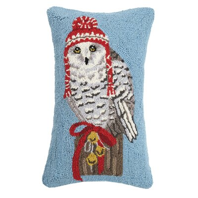 Fielden Winter Owl Hook Wool Throw Pillow