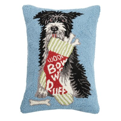 Fickes Dog Bone Stocking Hook Wool Throw Pillow