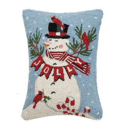 Fidel Jolly Snowman Hook Wool Throw Pillow