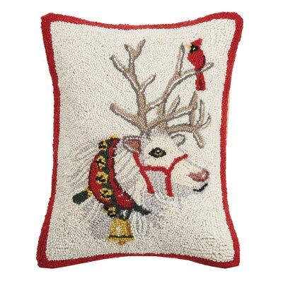 Fidler Reindeer Cardinal Hook Wool Throw Pillow