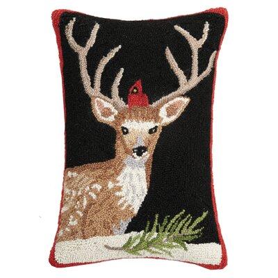 Fiecke Deer Cardinal Hook Wool Throw Pillow