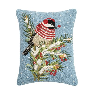 Fielden Winter Chickadee Hook Wool Throw Pillow