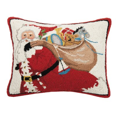 Fielder Santa Bag of Presents Hook Wool Throw Pillow
