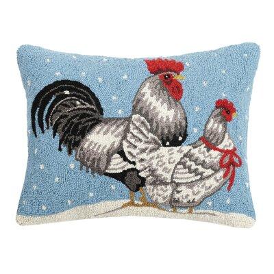 Fielden Winter Chickens Hook Wool Throw Pillow