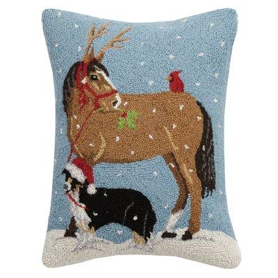 Fierros Dog and Horse Cardinal Hook Wool Throw Pillow