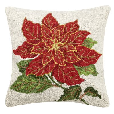 Fife Poinsettia Hook Wool Throw Pillow