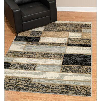 Hillside Avenue Gray/Cream Area Rug Rug Size: Rectangle 5 x 8
