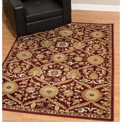 Kindel Scarlet/Beige Area Rug Rug Size: Rectangle 9 x 12