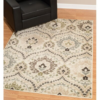 Kindel Cream Area Rug Rug Size: Rectangle 9 x 12