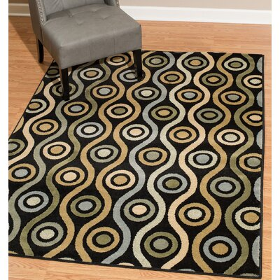 Hillside Avenue Yellow/Black Area Rug Rug Size: Rectangle 5 x 8