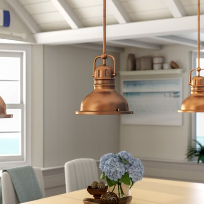 Maleah 1-Light LED Mini Pendant Color: Washed Copper, Size: 41.34 H x 8.75 W x 8.75 D