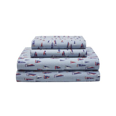 Sail Boats 180 Thread Count Sheet Set Size: Queen