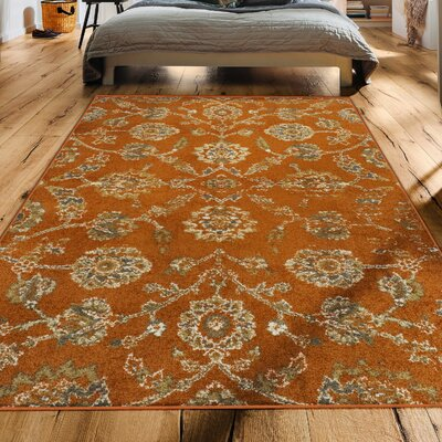 Proulx Contemporary Orange Area Rug Rug Size: Rectangle 5 x 8