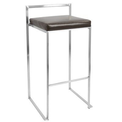 Gary 31.5 Bar Stool Upholstery: Brown, Finish: Stainless Steel