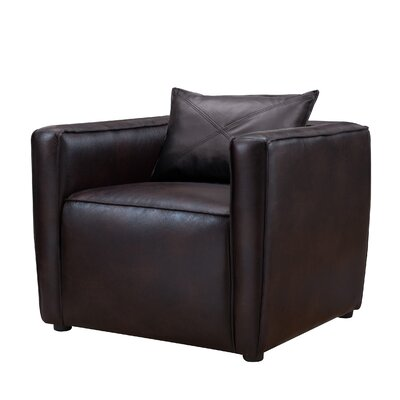 Mcgrady Armchair Upholstery: Vinyl, Finish: Brown