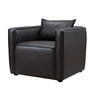 Mcgrady Armchair Upholstery: Vinyl, Finish: Dark Gray