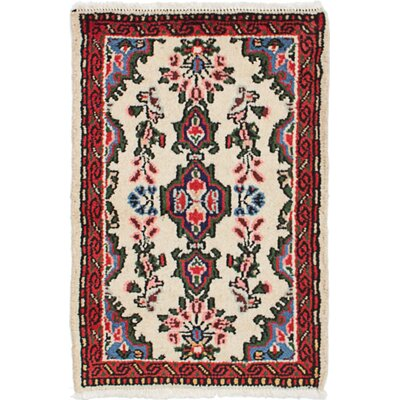 One-of-a-Kind Roth Hand-Knotted Wool Cream/Red Area Rug Rug Size: Rectangle 18 x 27