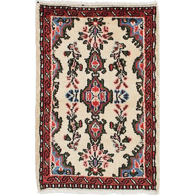 One-of-a-Kind Roth Hand-Knotted Wool Cream/Red Area Rug Rug Size: Rectangle 19 x 28
