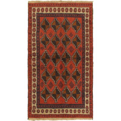 One-of-a-Kind Mcdougle Hand-Knotted Wool Red/Navy Area Rug