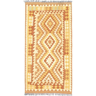 One-of-a-Kind Valasco Hand-Woven Wool Light Gold/Orange Area Rug