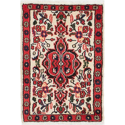 One-of-a-Kind Roth Hand-Knotted Wool Cream/Red Area Rug