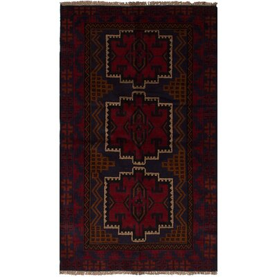 One-of-a-Kind Bilbo Hand-Knotted Wool Dark Navy/Red Area Rug
