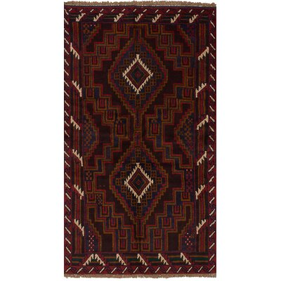 One-of-a-Kind Mcelligott Hand-Knotted Wool Dark Brown/Red Area Rug