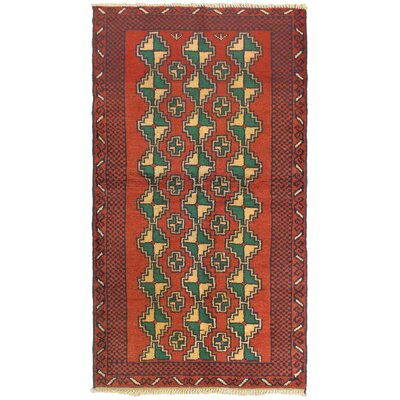 One-of-a-Kind Mcdougal Hand-Knotted Wool Red/Green Area Rug