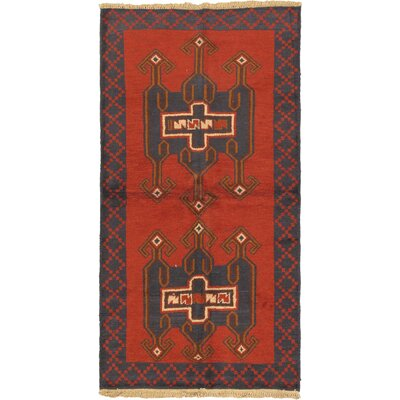 One-of-a-Kind Mcelligott Hand-Knotted Wool Red/Black Area Rug