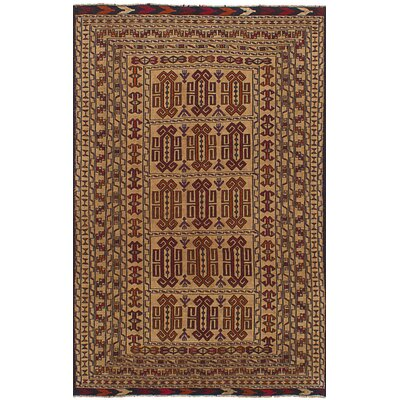 One-of-a-Kind Mcdonell Hand-Woven Wool Tan/Red Area Rug