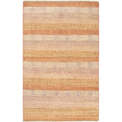 One-of-a-Kind Rolling Hills Estates Hand-Knotted Wool Light Orange/Beige Area Rug