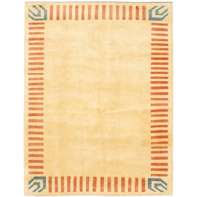 One-of-a-Kind Perkey Hand-Knotted Wool Light Yellow Area Rug