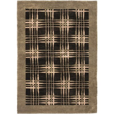 One-of-a-Kind Bussewitz Hand-Knotted Wool Beige/Black Area Rug