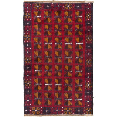 One-of-a-Kind Mcdougal Hand-Knotted Wool Dark Burgundy/Orange Area Rug