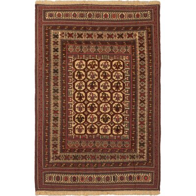 One-of-a-Kind Pacheco Hand-Woven Wool Dark Red/Ivory Area Rug