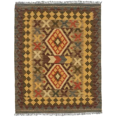 One-of-a-Kind Valasco Hand-Woven Wool Brown/Light Gold Area Rug