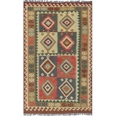 One-of-a-Kind Valasco Hand-Woven Wool Dark Burgundy/Turquoise Area Rug