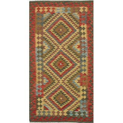 One-of-a-Kind Valasco Hand-Woven Wool Light Yellow/Red Area Rug